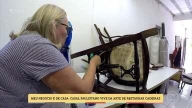 Casal vive da arte de restaurar cadeiras - Paulistanos montaram uma oficina de conserto na garagem de casa