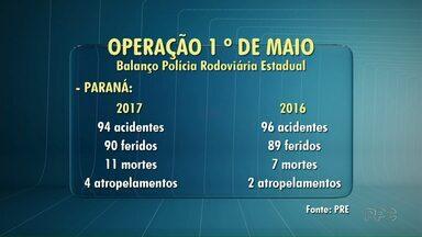 Onze pessoas morrem nas rodovias estaduais do Paraná no feriado de 1º de Maio - Aumentou também o número de atropelamentos, foram quatro em todo o Estado. Um ocorreu ontem, na PR-445, região de Londrina.