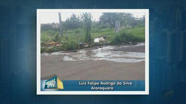 Morador denuncia vazamento de água no bairro Alto dos Pinheiros, em Araraquara, SP - Prefeitura afirma que problema será resolvido até o fim do mês.