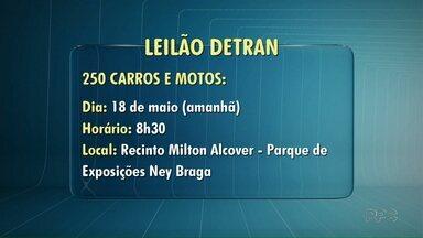 Detran faz leilão de carros e motos - O leilão acontece no Parque Ney Braga nesta quinta-feira. Já a Prefeitura de Londrina faz um leilão de bens e imóveis.