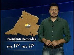 Confira a previsão do tempo para a região de Presidente Prudente - Veja como fica a temperatura em algumas cidades.
