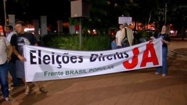 Manifestantes se reúnem contra o governo Temer em Campo Grande - O protesto aconteceu no centro da cidade e reuniu integrantes de vários movimentos de trabalhadores.