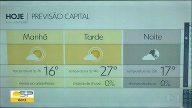 São Paulo tem tempo seco - Algumas partes do estado podem ter nevoeiro.
