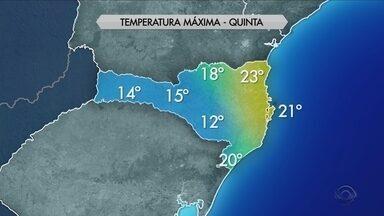 Veja a previsão do tempo para esta quinta-feira (1) em todas as regiões de SC - Veja a previsão do tempo para esta quinta-feira (1) em todas as regiões de SC