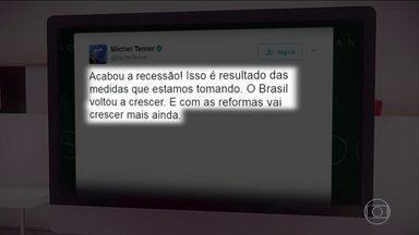 """Governo comemora o primeiro PIB positivo em dois anos - O presidente Michel Temer escreveu em uma rede social: """"Acabou a recessão. Isso é resultado das medidas que estamos tomando. O Brasil voltou a crescer e com as reformas vai crescer mais ainda""""."""