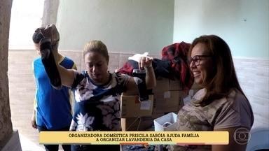 Cissa Guimarães conhece fámilia que tem dificuldades em organizar a lavanderia da casa - Fámilia tem 6 pessoas e recebem ajuda para organizar a lavanderia