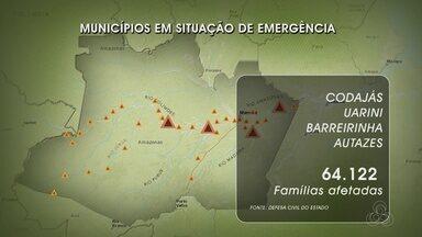 Sobe para 39 número de municípios do AM em emergência por conta da cheia - Defesa Civil estima que 64.122 mil pessoas estão sendo afetadas.