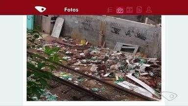 VC no ESTV: morador flagra 18 vagões de trem lotados de lixo em Cariacica - O lixo é jogado na linha de trem. Em Cariacica, a linha do trem que passa no bairro Vila Palestina está se tornando um 'lixão'.