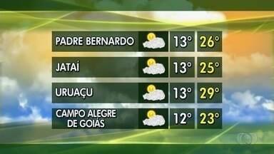 Veja como fica a previsão do tempo para esta semana em Goiás - Mínima em Campo Alegre de Goiás pode chegar a 12ºC.