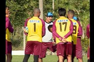 Paysandu faz último treino antes de enfrentar o Criciúma - Paraenses não vencem na Série B há oito jogos. Goleiro Emerson e técnico Marquinhos Santos conversaram com a imprensa.