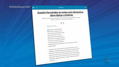Gastón Fernández se reúne com diretoria e deve deixar o Grêmio - Argentino diz que quer jogar mais regularmente, embora reconheça a dificuldade de conseguir espaço no clube e o bom momento momento dos companheiros.