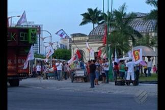 Manifestantes se concentram em ato pró-Lula no Mercado de São Brás, em Belém, - O protesto foi em solidariedade ao ex-presidente Luis Inácio Lula da Silva.