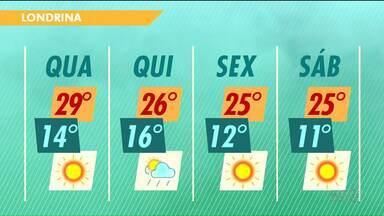 Tem previsão de chuva fraca nesta quinta-feira - As máximas continuam altas. Pode fazer 29 graus nesta quarta-feira em Londrina.