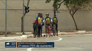 Ciclistas pintam ciclofaixa em viaduto na Zona Leste de São Paulo - Foi uma mistura de protesto contra a violência no trânsito, com uma forma de dar mais segurança aos ciclistas.