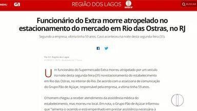Funcionário morre atropelado em estacionamento de supermercado em Rio das Ostras, no RJ - Vítima de 59 anos morreu após ser atropelada por carro.