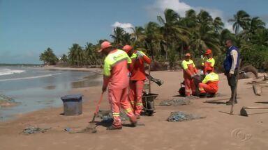 Grande quantidade de sacos plásticos aparece em praia de Ipioca, em Maceió - IMA suspeita que lixo descartado irregularmente foi lançado ao mar por navios e chegou até a costa pela ação das correntes marinhas.