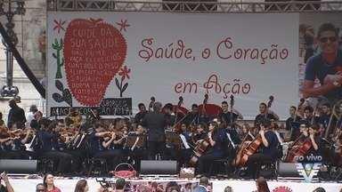 Ação do Coração acontece na Praça Mauá, em Santos - Evento reuniu mais de 150 mil corações.