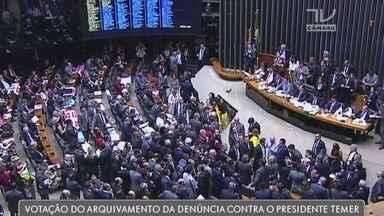 Câmara dos deputados rejeitou denúncia contra o presidente Temer - Os três deputados que representam a região participaram da votação.