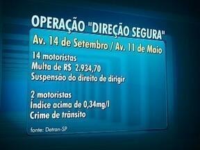 Operação Direção Segura autua motoristas em Presidente Prudente - Ação foi realizada nas principais vias da cidade.