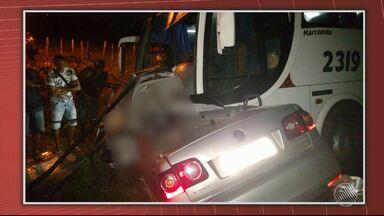 Quatro pessoas morrem em acidente entre carro e o ônibus com jogadores de Cachoeira - A batida foi perto de Santo Antônio de Jesus. Ninguém do ônibus se feriu.