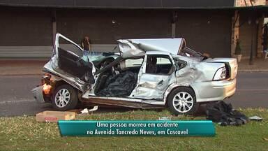 Acidente na Avenida Tancredo Neves deixa uma pessoa morta - Acidente envolveu um carro e um ônibus.