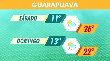Deve ter chuva no final de semana na região de Guarapuava - Tem previsão de chuva no domingo. Em Guarapuava, a temperatura mínima deve ficar em 13ºC e a máxima 22ºC