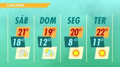 Previsão de chuva e queda nas temperaturas para o fim de semana - Na segunda-feira a previsão é de mínima de 8 graus pra Cascavel.