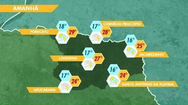 Chuva deve ficar mais forte no fim de semana em Londrina - Mas no fim da tarde de domingo as áreas de instabilidade perdem força e o tempo começa a se firmar.