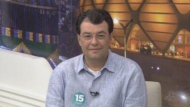 Candidato Eduardo Braga (PMDB) é entrevistado no Jornal do Amazonas - Rede Amazônica realiza cobertura da eleição suplementar para governo do Amazonas.
