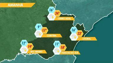 O domingo será de chuva na região de Curitiba - Na segunda-feira, a mínima prevista para a capital é de 3ºC.