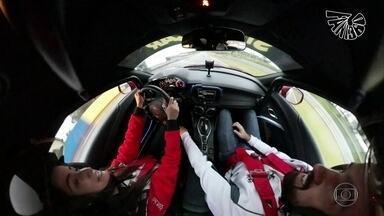 Fant360: Mari Palma surfa e corre com Mineirinho e Rubinho Barrichello - Com câmera que grava em 360° presa à prancha, público acompanha todas as sensações. Na pista de corrida, velocidade média é de 240 km/h.