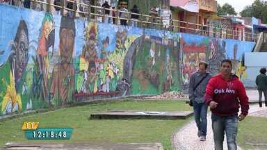 Muro da Estação Saudade ganha cara nova com painel de graffiti - Entre os desenhos grafitados está o Capão da Onça que foi escolhido pelos telespectadores do ParanáTV