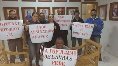 Mototaxistas protestam e pedem regulamentação do serviço em Lavras (MG) - Mototaxistas protestam e pedem regulamentação do serviço em Lavras (MG)