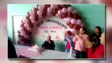 Dona Zefa ganha festa de aniversário no Sudoeste - Ela completou cem anos neste domingo.