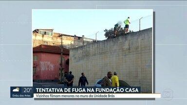 Três internos esbarram com a PM ao tentarem fugir da Fundação Casa - Os menores chegaram a escalar os muros da Fundação Casa e andaram segurando nas grades.