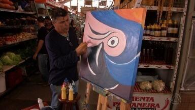 Cleir, o artista urbano, vai para o mercadão municipal e faz tela exclusiva para o Meu MS - Cleir, o artista urbano, vai para o mercadão municipal e faz tela com exclusividade para o nosso programa