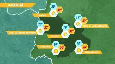 Previsão para o domingo é de sol e calor em Cascavel e região - Máxima deve chegar aos 29ºC.