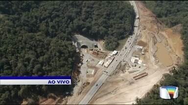 Obra de um dos cinco túneis do trecho de serra da Tamoios começa nesta segunda - Governador Geraldo Alckmin acompanha as obras.
