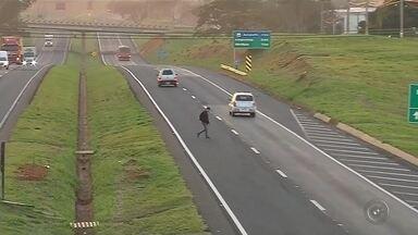Pedestres se arriscam a cruzar rodovia na região de Fernandópolis mesmo com passarelas - Em Fernandópolis (SP) tem passarela, mas muita gente prefere a pista. Com isso, eles correm o risco de acidentes no local.