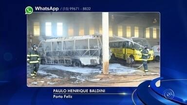 Micro-ônibus pega fogo na garagem da Prefeitura de Porto Feliz - Um micro-ônibus pegou fogo na garagem do setor de obras da Prefeitura de Porto Feliz (SP), na tarde desta quinta-feira (31), na rodovia Mario Covas, no Jardim São Marcos.