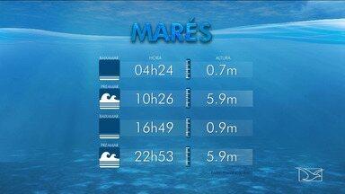 Variação da maré para esta segunda-feira (11) para o Maranhão - Variação da maré para esta segunda-feira (11) para o Maranhão.