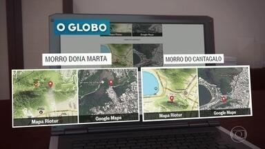 Favelas da Zona Sul são transformadas em mata em mapa da Riotur - Mapa turístico traz comunidades da Babilônia, Dona Marte e do Cantagalo. Mais de 60 mil panfletos foram distribuídos.