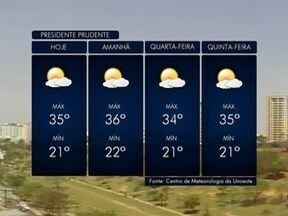 Semana começa com tempo seco e sem previsão de chuva - Confira como ficam as temperaturas na região de Presidente Prudente.