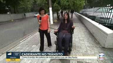 Cadeirante fala sobre a situação das calçadas e mobilidade em SP - Como é andar de cadeira de rodas pelas ruas de São Paulo? Esse é o desafio no segundo dia da semana de mobilidade urbana. Uma semana para que os cidadãos aprendam a conviver melhor no trânsito.