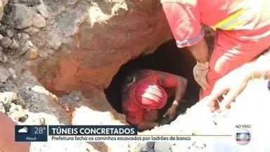 Prefeitura fecha caminhos do túnel escavado por ladrões de banco - Os ladrões dispunham de farto material, incluindo um equipamento para colocar no ouvido para evitar ruídos.
