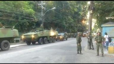 Forças Armadas voltam à Rocinha para apoiar operação policial no Rio - A comunidade voltou a ser palco de tiroteios. Um segurança do chefe do tráfico local foi preso na Baixada Fluminense. Nos últimos dias, foram pelo menos sete confrontos na Rocinha.