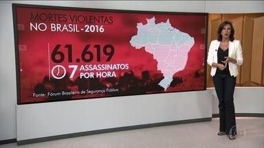 Brasil registra recorde histórico de 61 mil mortes violentas em 2016 - De acordo com o anuário do Fórum Brasileiro de Segurança Pública, isso equivale a uma média de sete pessoas assassinadas por hora. Mais de 70 mil pessoas também desapareceram no ano passado.
