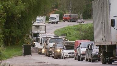 Duplicação da BR-491 causa interrupções na rodovia por conta do corte de árvores - Duplicação da BR-491 causa interrupções na rodovia por conta do corte de árvores