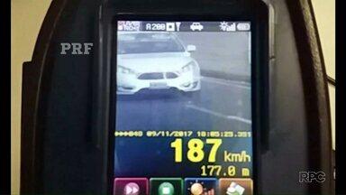 Carro a 187 km/h é flagrado pela PRF entre Ponta Grossa e Curitiba - Situação foi na VR-277, num trecho onde a velocidade máxima permitida é de 80 km/h.