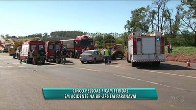 Cinco pessoas ficaram gravemente feridas em acidente na BR-376 - O acidente foi entre um caminhão e um carro. As cinco pessoas que estavam no carro ficaram gravemente feridas e um helicóptero do Samu foi chamado para ajudar no atendimento.